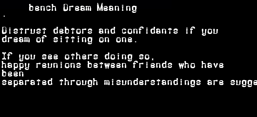 dream meanings bench