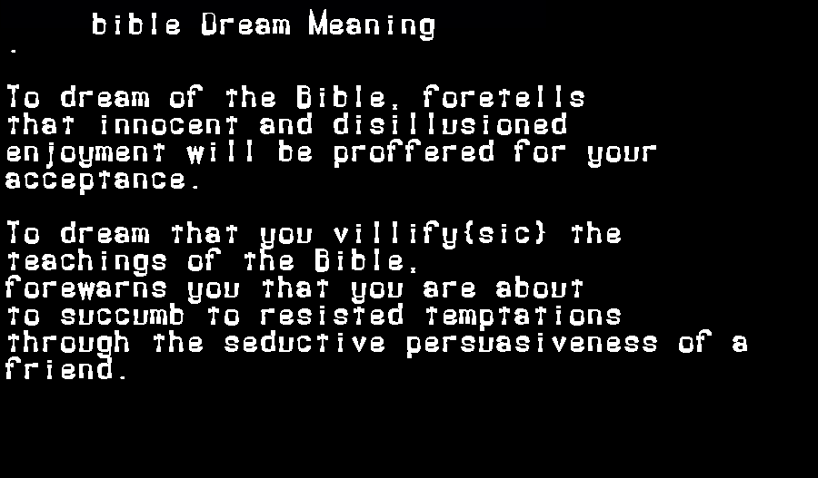 dream meanings bible