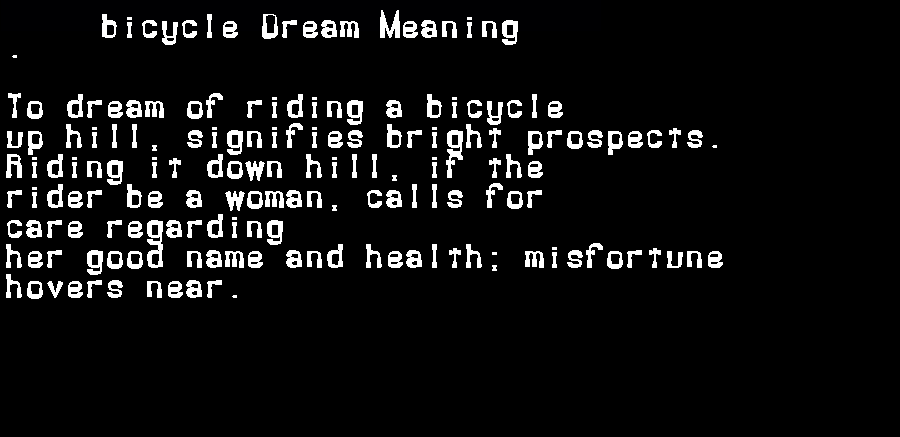 dream meanings bicycle