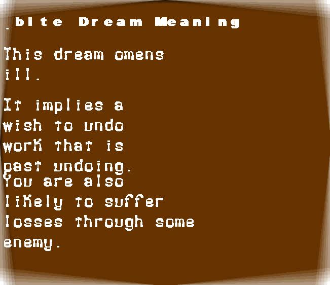 dream meanings bite