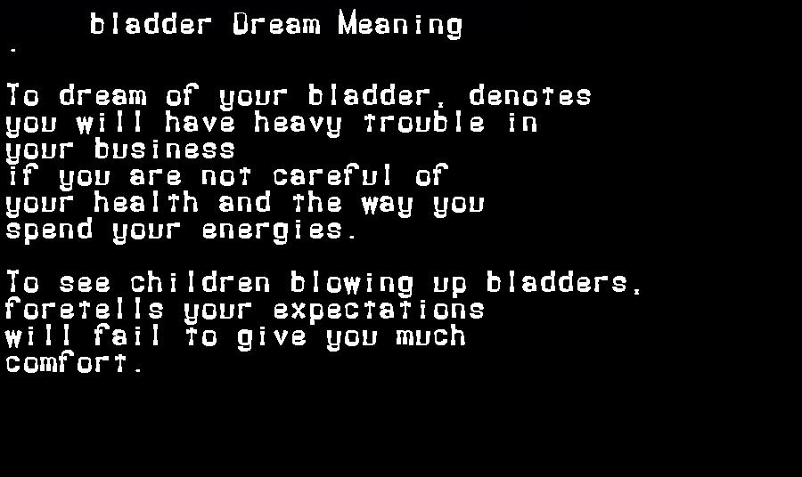 dream meanings bladder