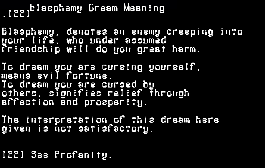 dream meanings blasphemy