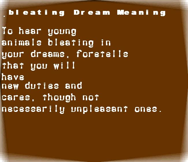 dream meanings bleating