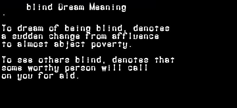 dream meanings blind