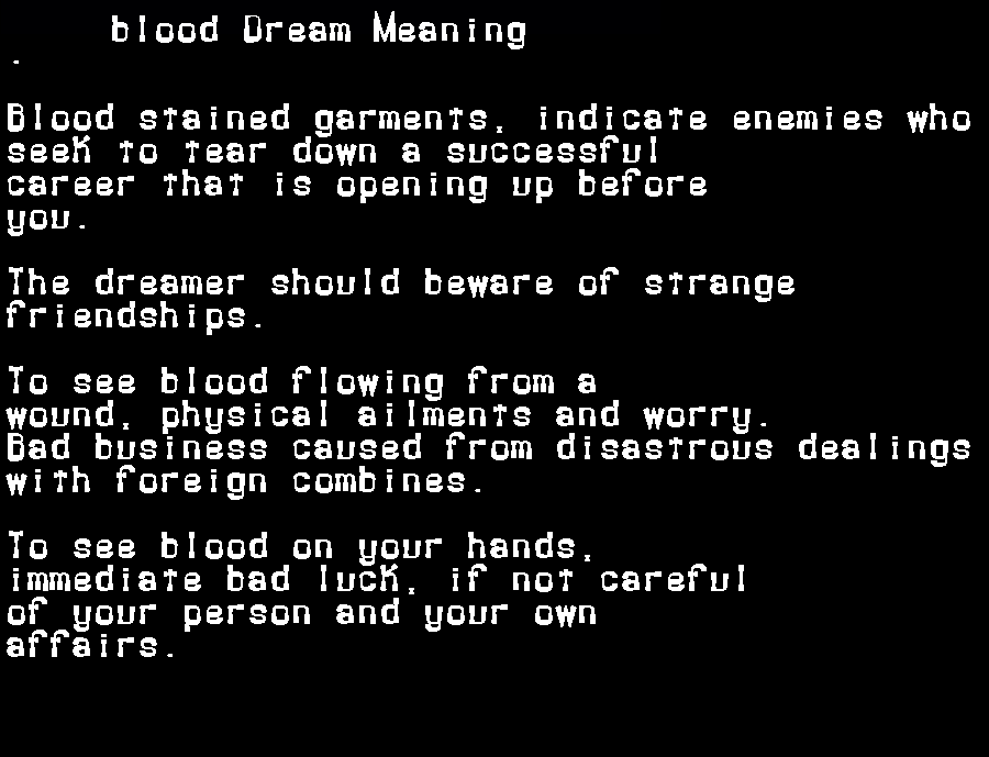 dream meanings blood