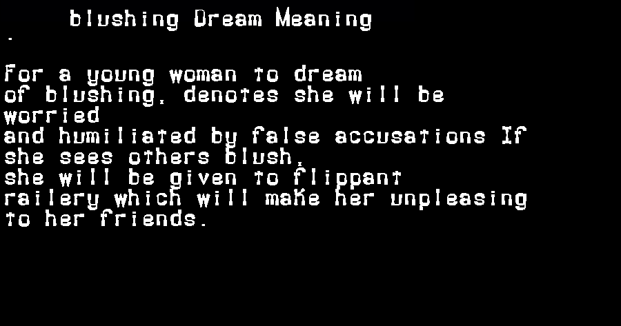 dream meanings blushing