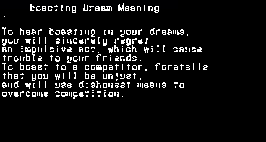 dream meanings boasting