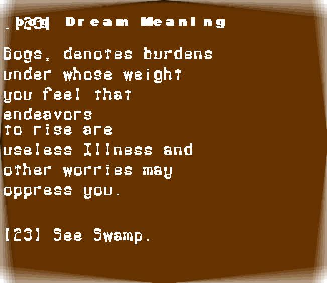 dream meanings bog