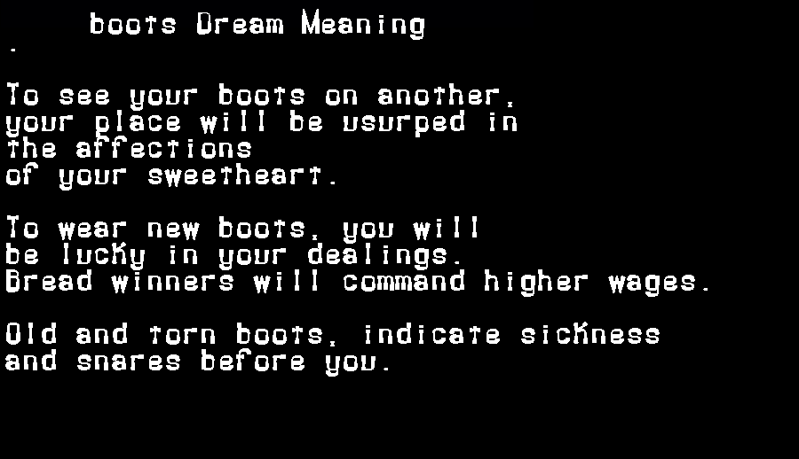 dream meanings boots