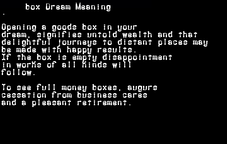dream meanings box