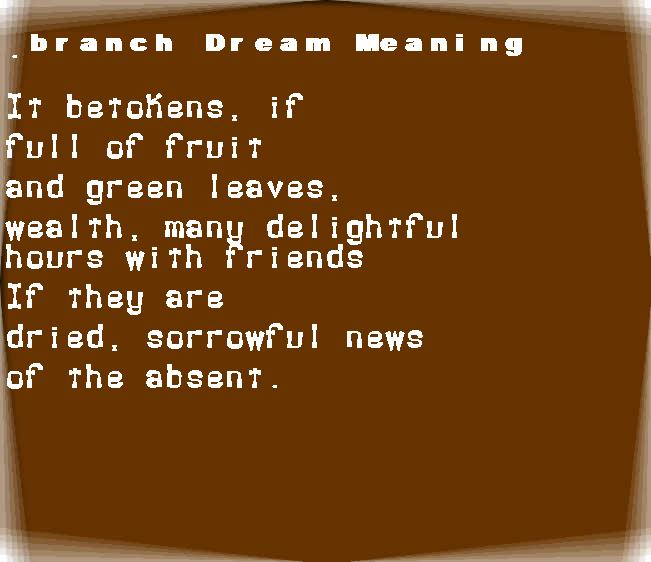 dream meanings branch