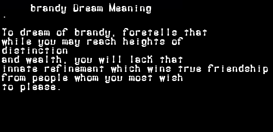 dream meanings brandy