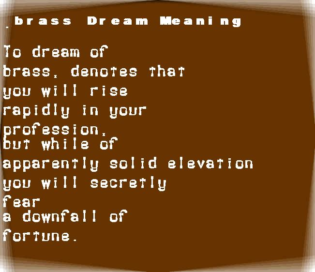 dream meanings brass