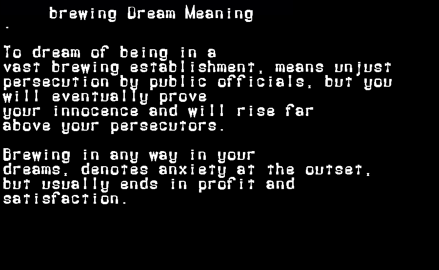 dream meanings brewing