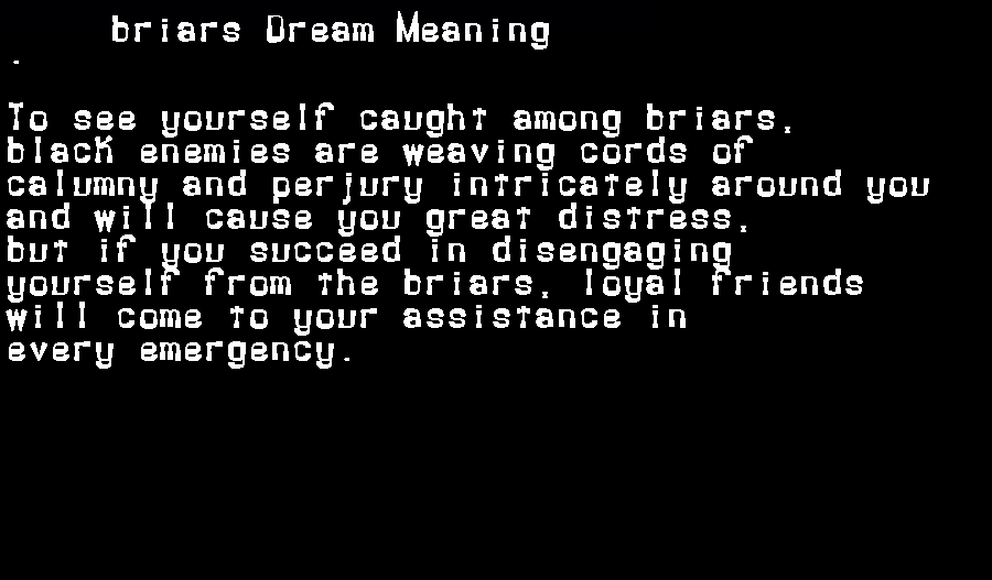 dream meanings briars