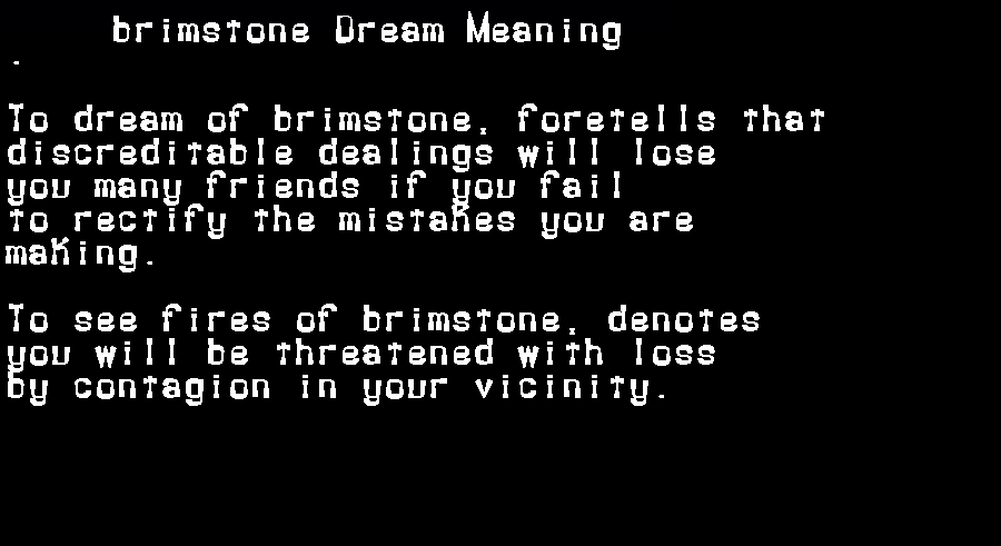dream meanings brimstone