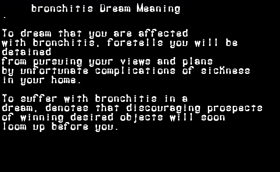 dream meanings bronchitis