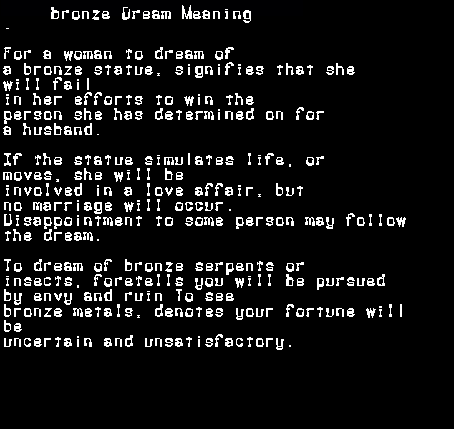dream meanings bronze