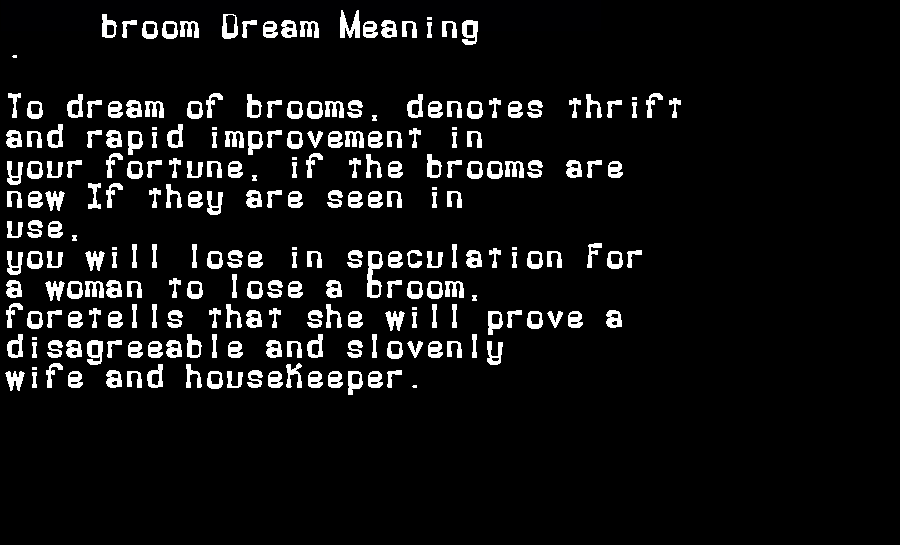 dream meanings broom