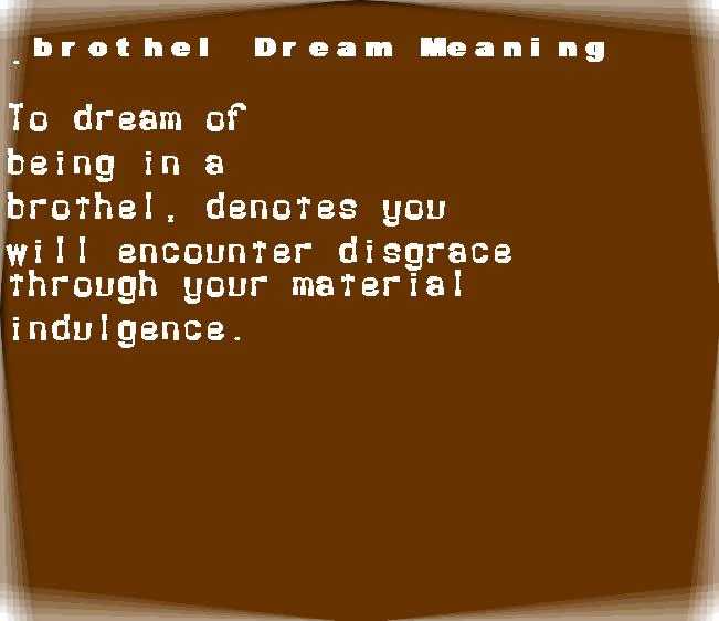 dream meanings brothel