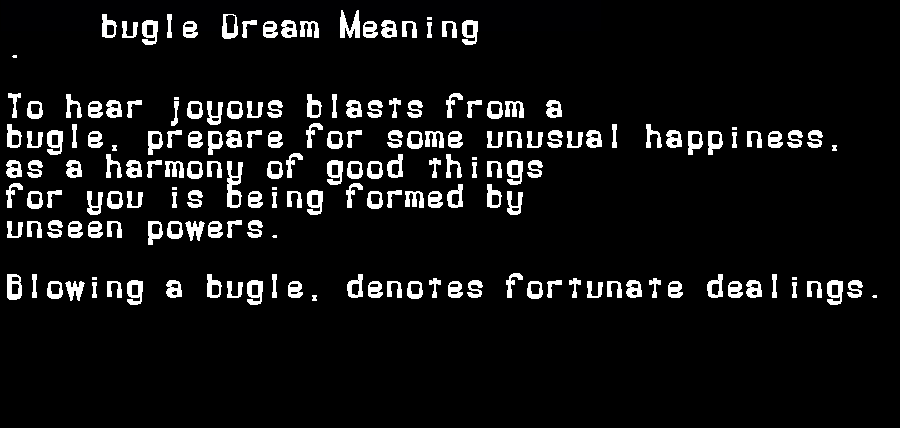 dream meanings bugle