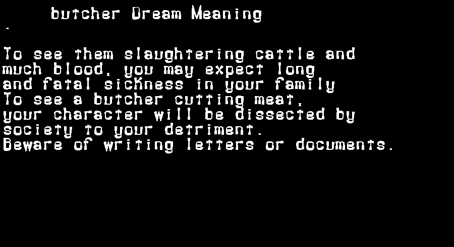 dream meanings butcher