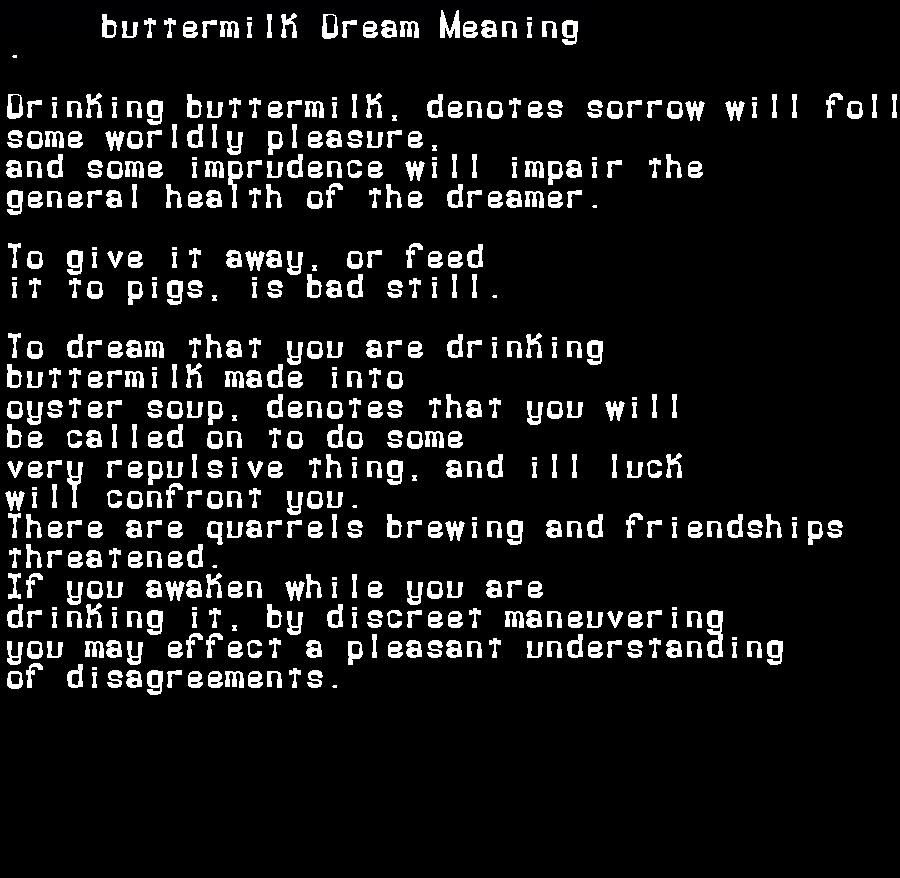 dream meanings buttermilk