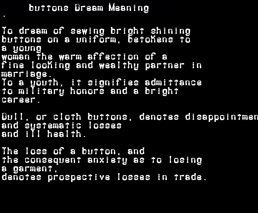 dream meanings buttons