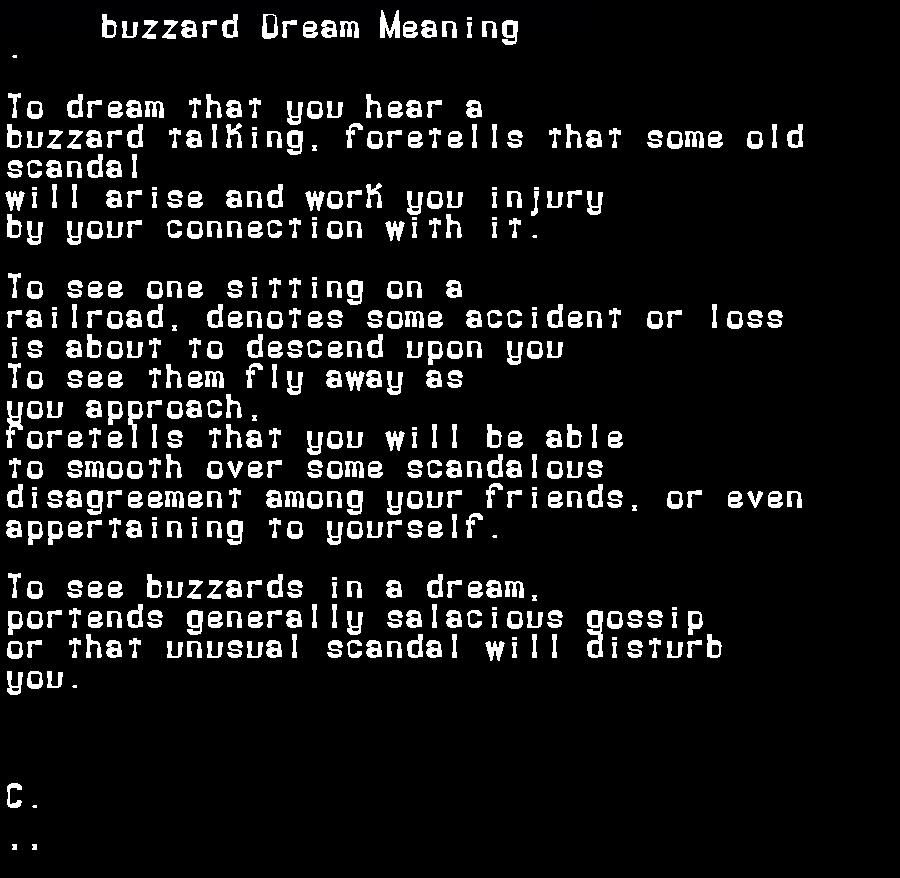 dream meanings buzzard
