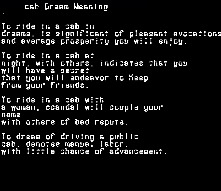 dream meanings cab