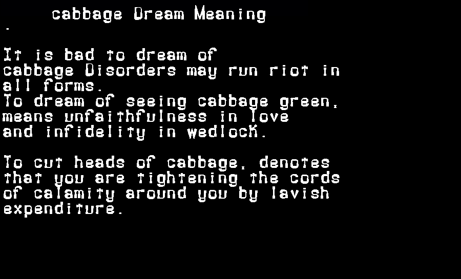 dream meanings cabbage