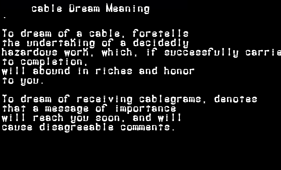 dream meanings cable