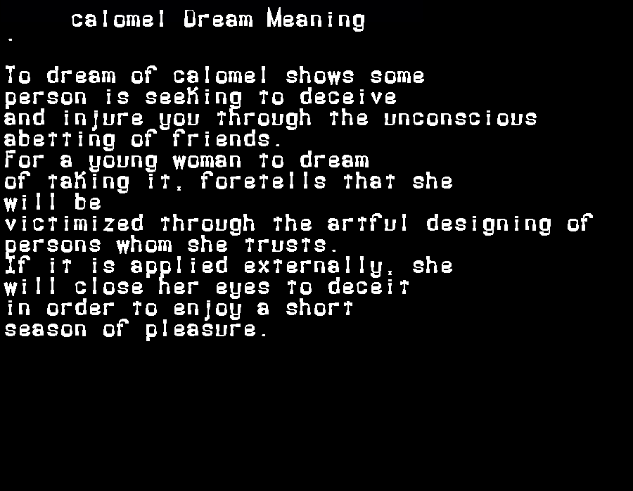 dream meanings calomel