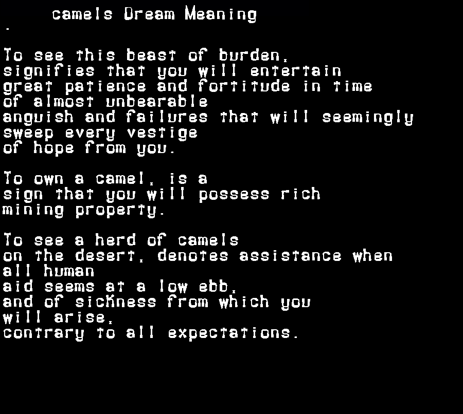 dream meanings camels