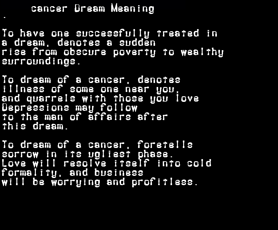 dream meanings cancer