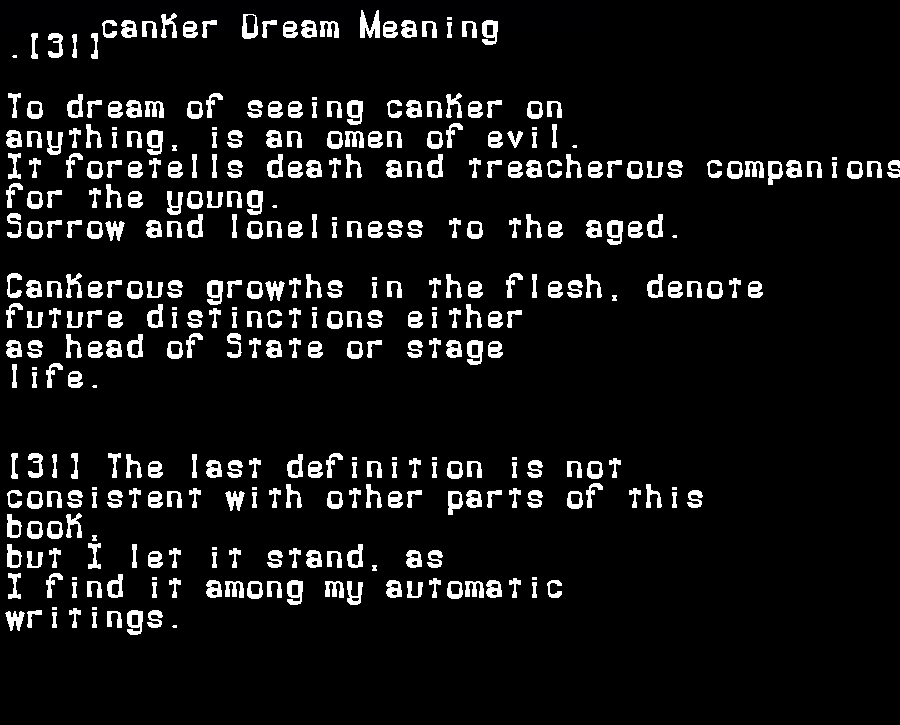 dream meanings canker