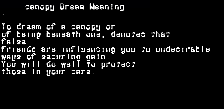 dream meanings canopy