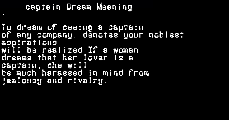 dream meanings captain