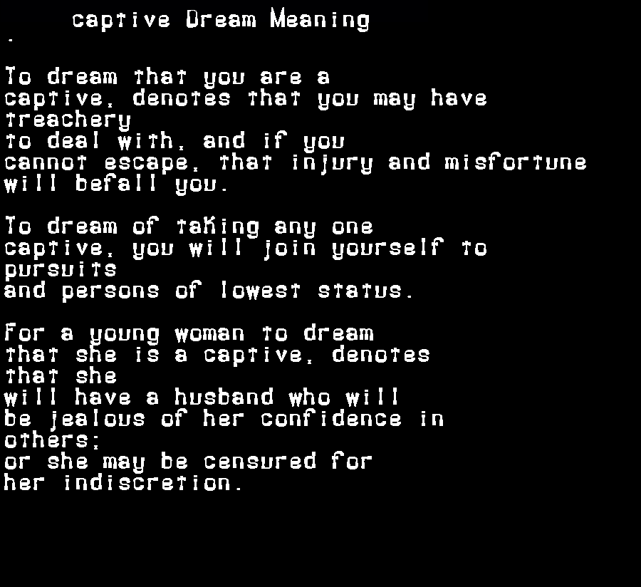 dream meanings captive