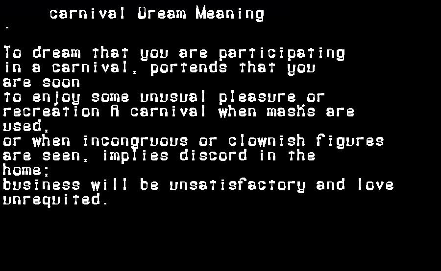 dream meanings carnival