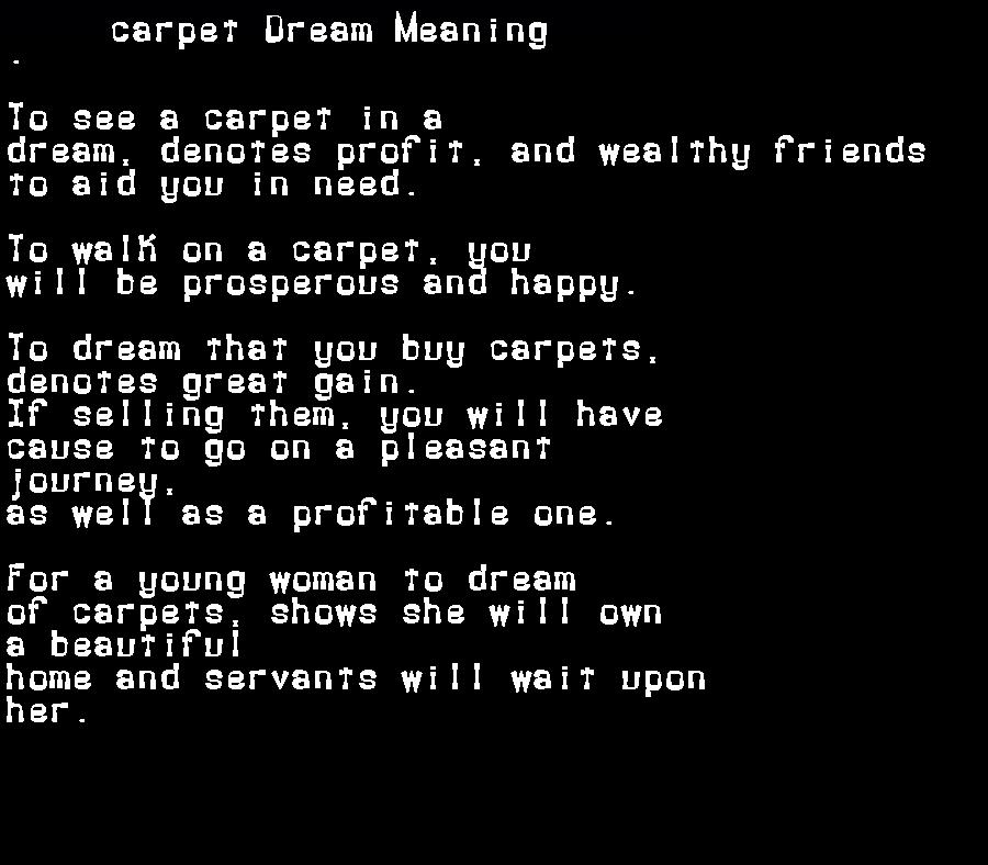dream meanings carpet