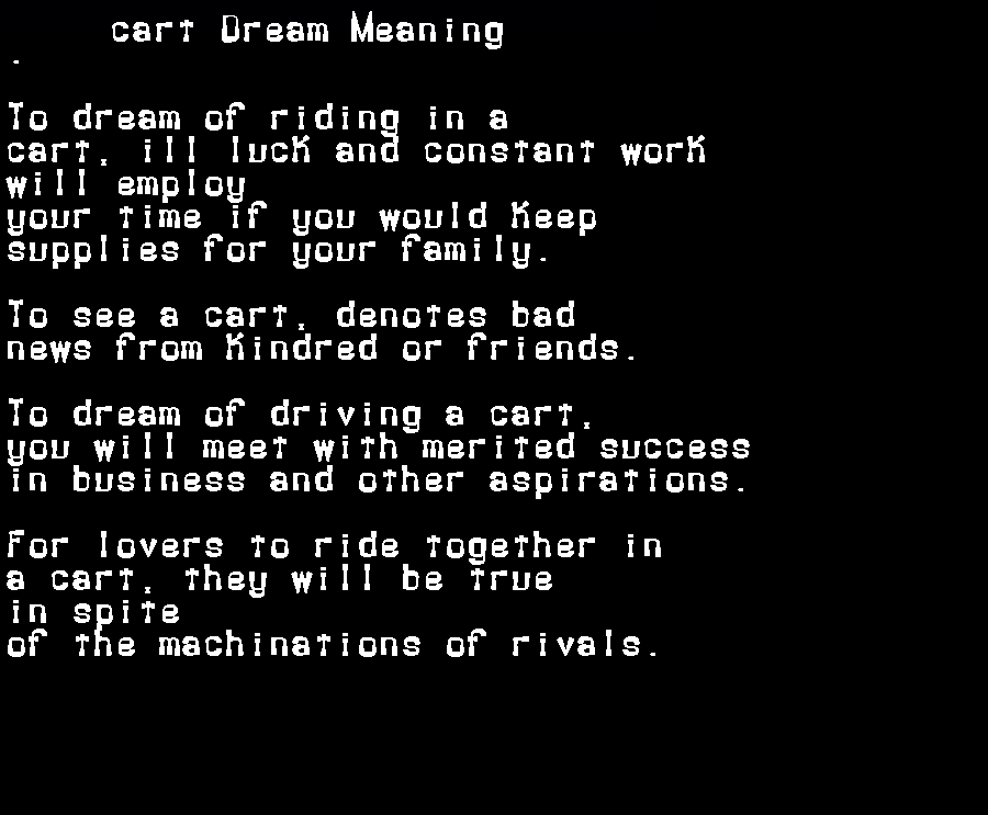 dream meanings cart