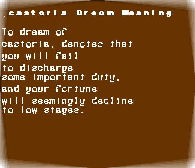 dream meanings castoria