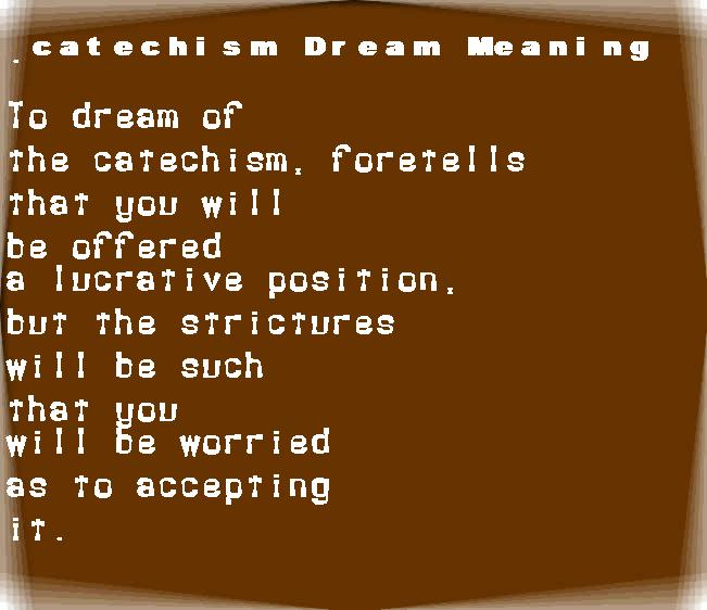 dream meanings catechism