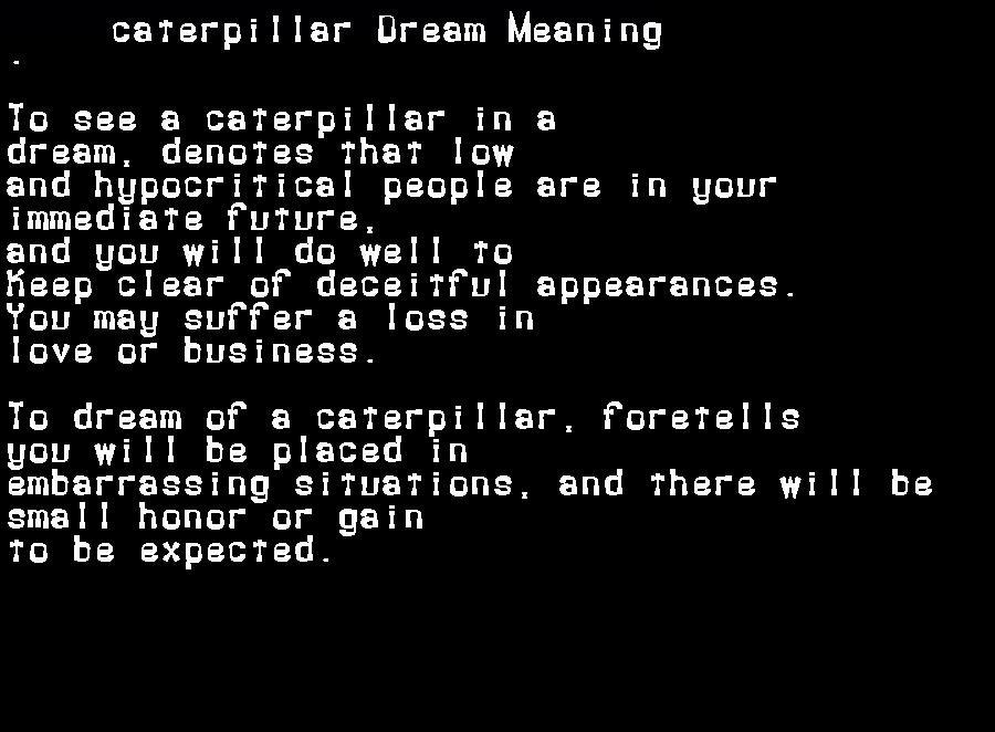 dream meanings caterpillar