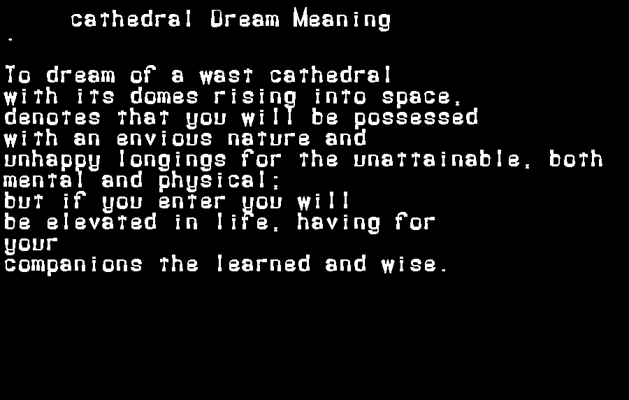 dream meanings cathedral