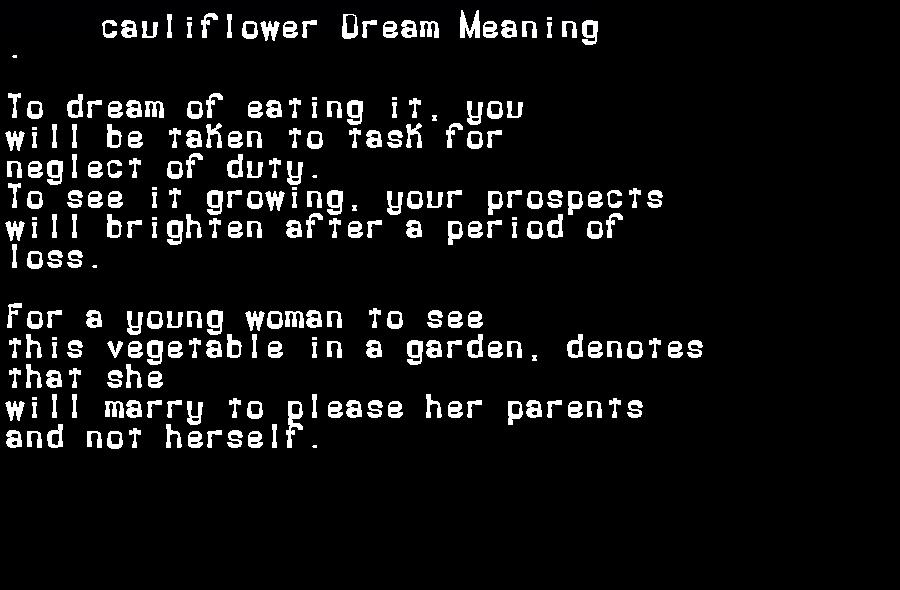 dream meanings cauliflower