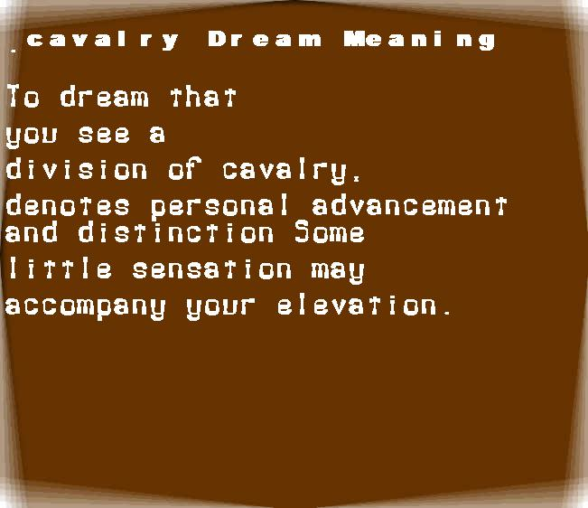 dream meanings cavalry