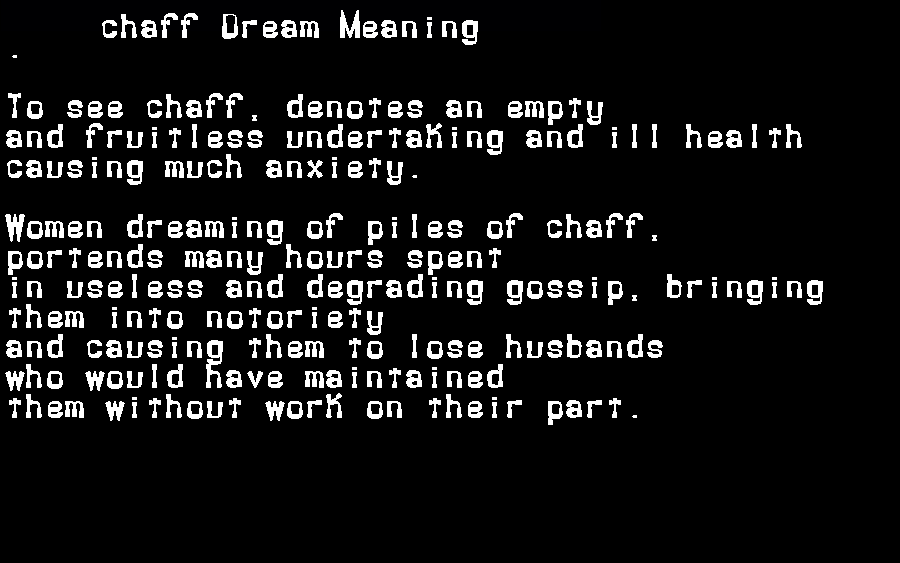 dream meanings chaff