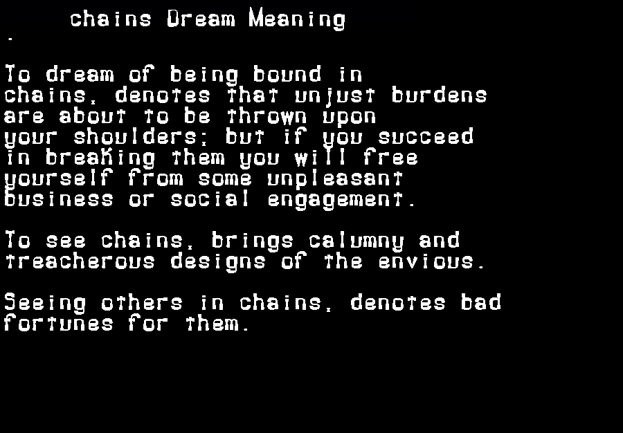 dream meanings chains